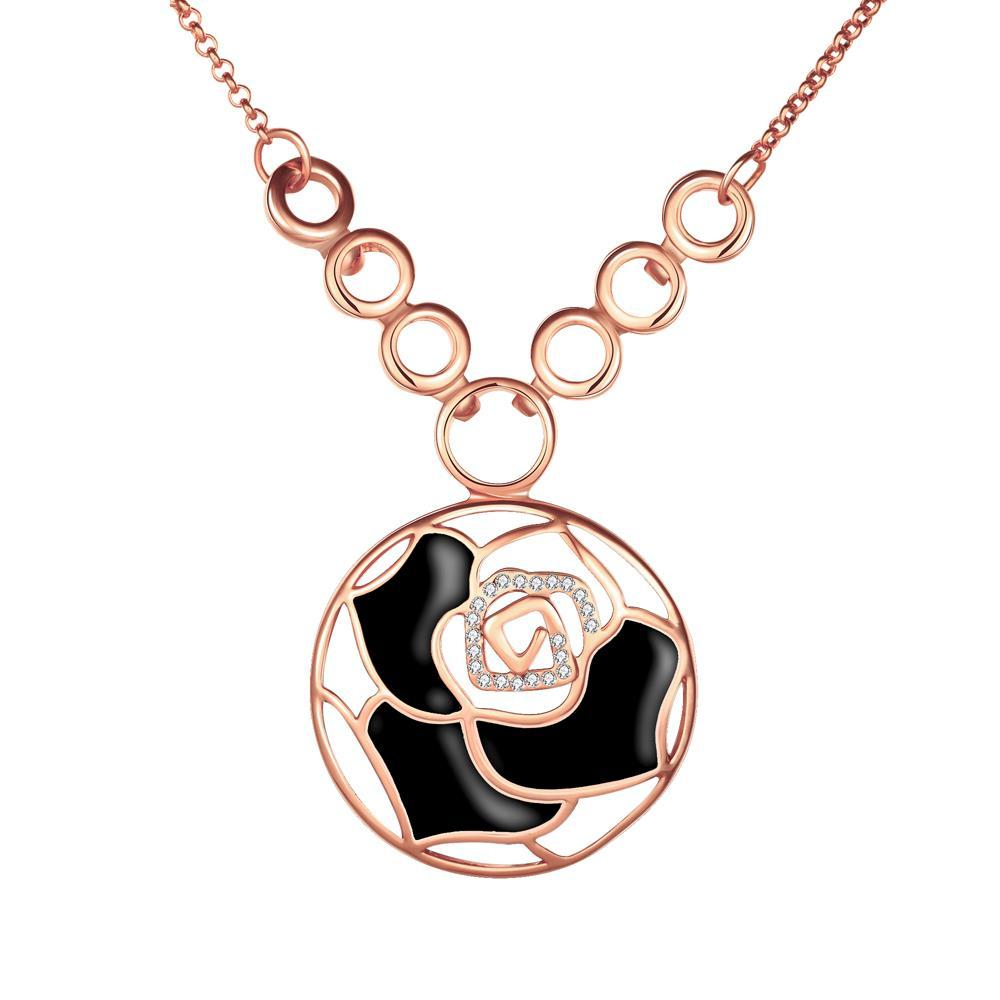 Vienna Jewelry Rose Gold Plated Onyx Floral Emblem Necklace