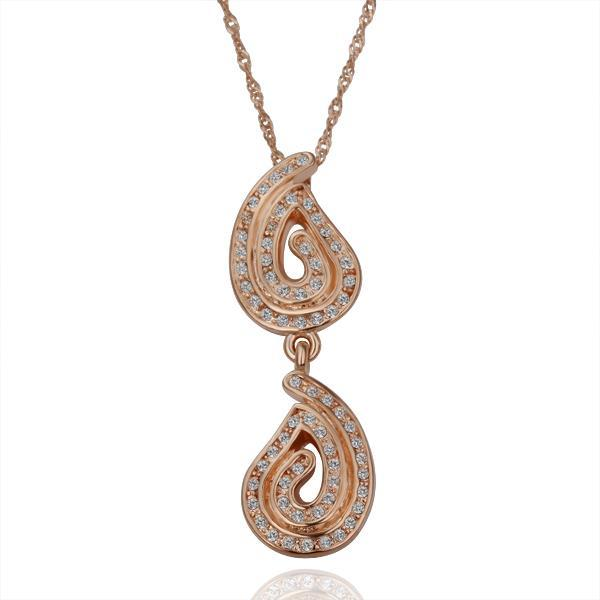 Vienna Jewelry Rose Gold Plated Double Dangling Emblem Necklace