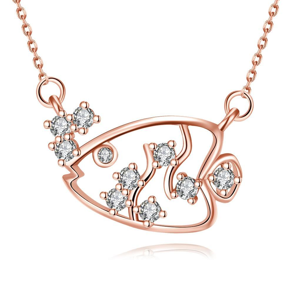 Vienna Jewelry Rose Gold Plated Swimming Salmon Necklace