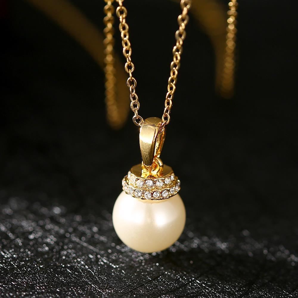 Vienna Jewelry Gold Plated Chandelier Pearl Drop Necklace