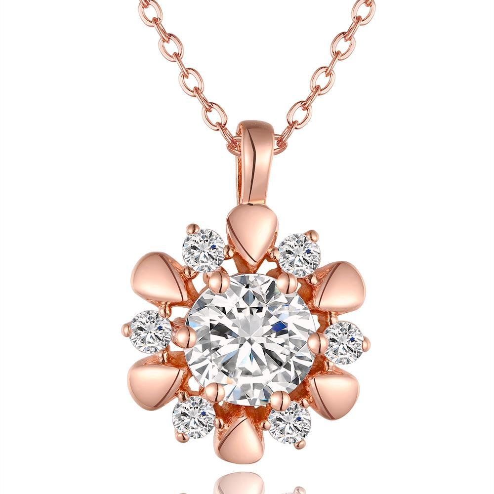 Vienna Jewelry Rose Gold Plated Spiral Blossoming Clover Emblem Necklace