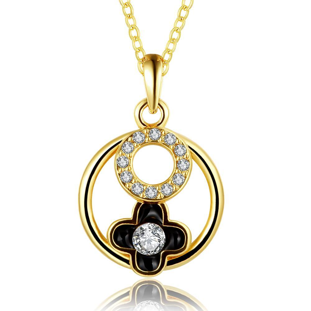 Vienna Jewelry Gold Plated Floral Circular Pendant Necklace