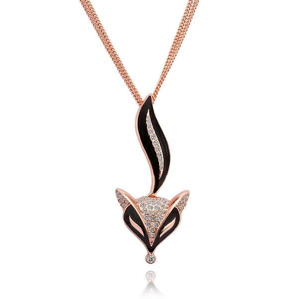 Vienna Jewelry Rose Gold Plated Sly Onyx Fox Necklace