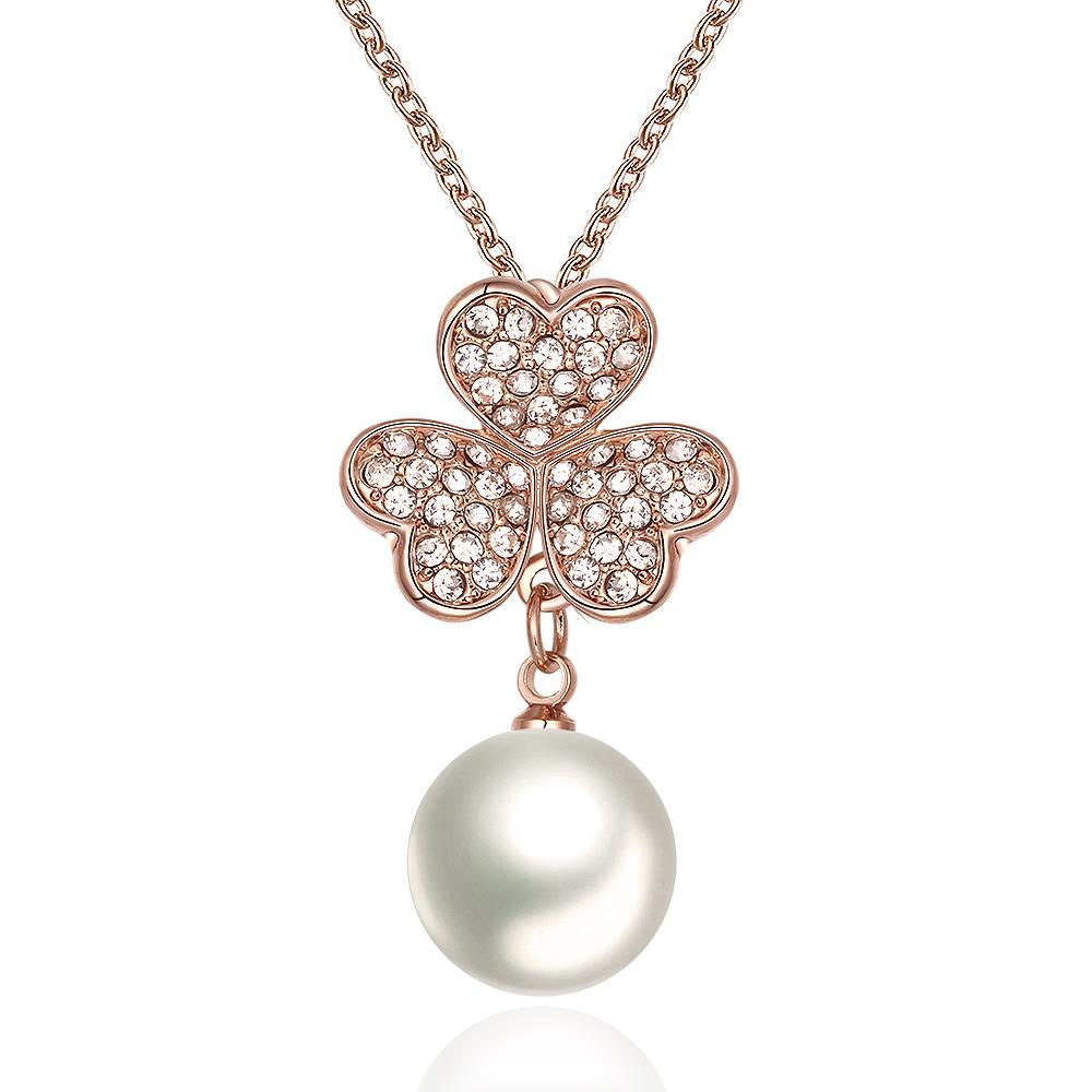 Vienna Jewelry Rose Gold Plated Petite Pearl Necklace