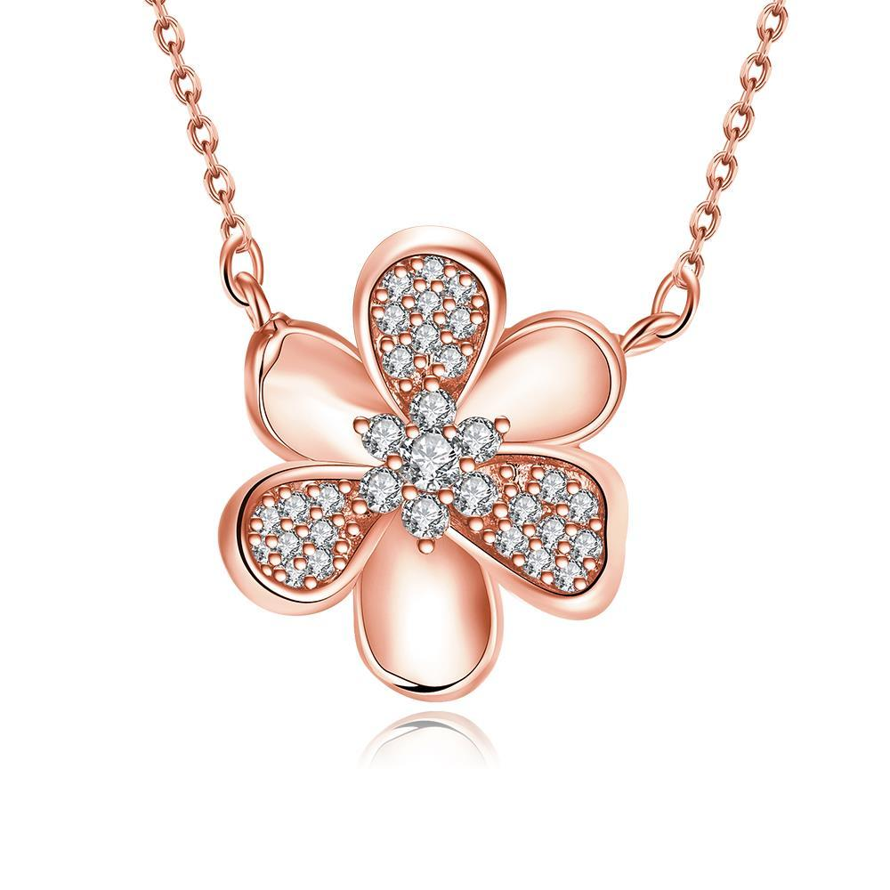 Vienna Jewelry Rose Gold Plated Mini Clover * Pendant Necklace