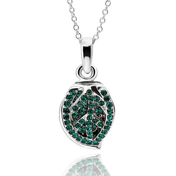 Vienna Jewelry White Gold Plated Emerald Jewels Covering Shield Necklace