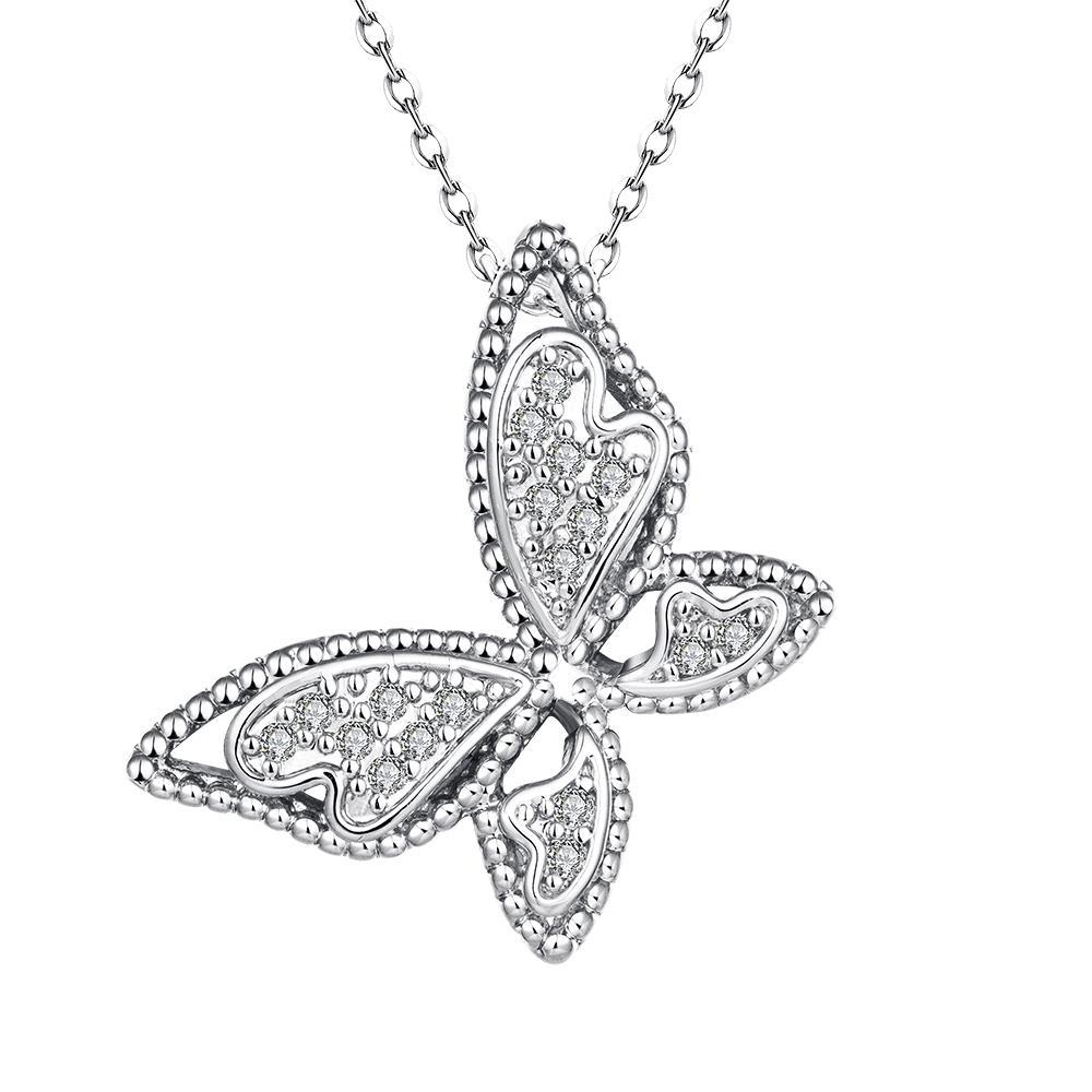 Vienna Jewelry White Gold Plated Large Butterfly Necklace
