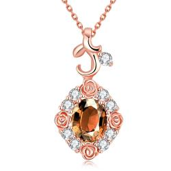 Vienna Jewelry Rose Gold Plated Snowflake Citrine Necklace - Thumbnail 0
