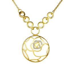 Vienna Jewelry Gold Plated Ivory Floral Emblem Necklace - Thumbnail 0