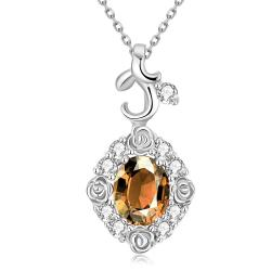 Vienna Jewelry White Gold Plated Snowflake Citrine Necklace - Thumbnail 0