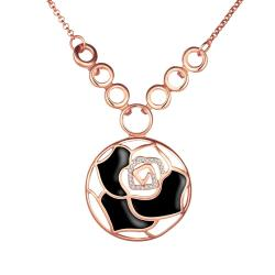 Vienna Jewelry Rose Gold Plated Onyx Floral Emblem Necklace - Thumbnail 0