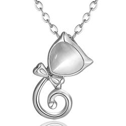 Vienna Jewelry White Gold Plated Spiral Kitty Cat Necklace - Thumbnail 0