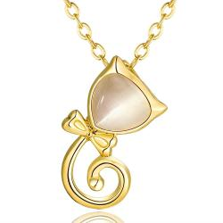 Vienna Jewelry Gold Plated Spiral Kitty Cat Necklace - Thumbnail 0