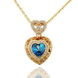 Vienna Jewelry Gold Plated Saphire Encrusted Necklace - Thumbnail 0