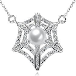 Vienna Jewelry White Gold Plated Spiderweb Inspired Necklace - Thumbnail 0