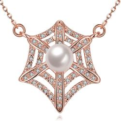 Vienna Jewelry Rose Gold Plated Spiderweb Inspired Necklace - Thumbnail 0