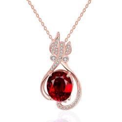 Vienna Jewelry Rose Gold Plated Petite Butterfly Ruby Necklace