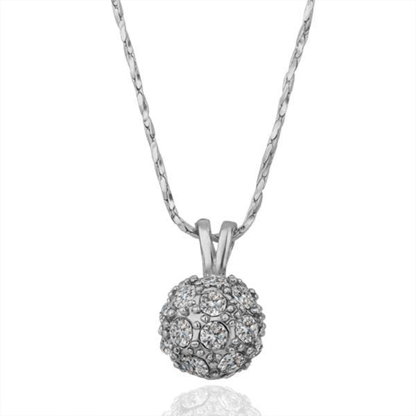 Vienna Jewelry White Gold Plated Crystal Pav'e Ball Necklace