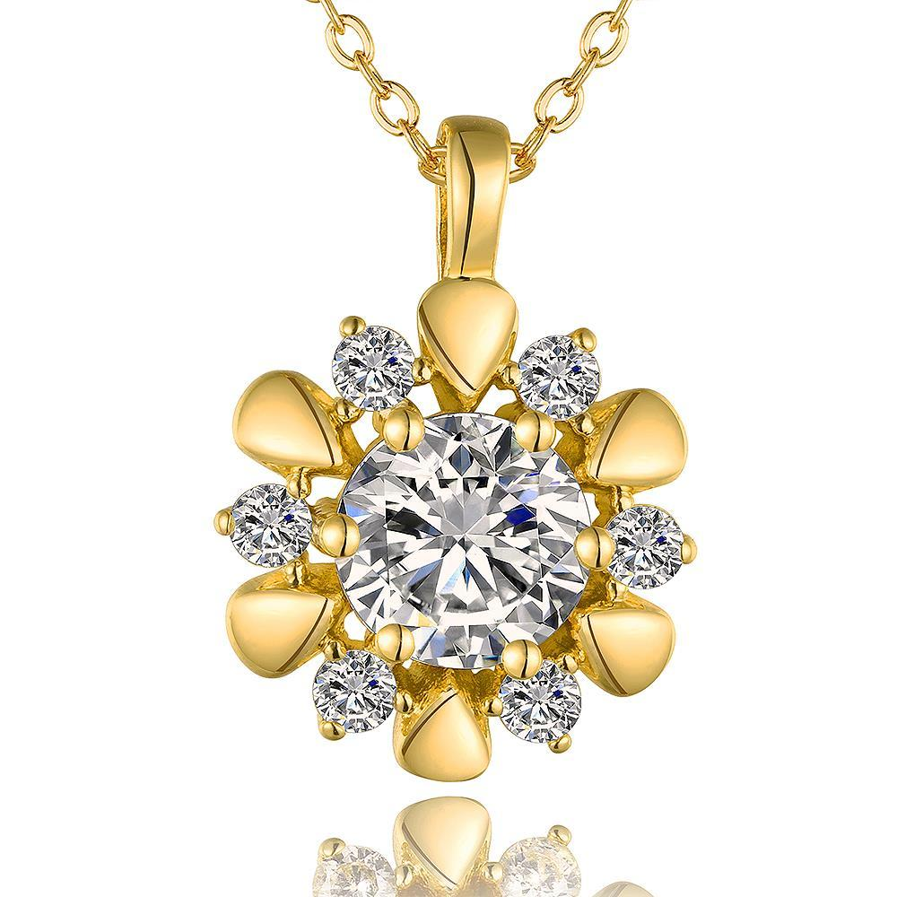 Vienna Jewelry Gold Plated Spiral Blossoming Clover Emblem Necklace