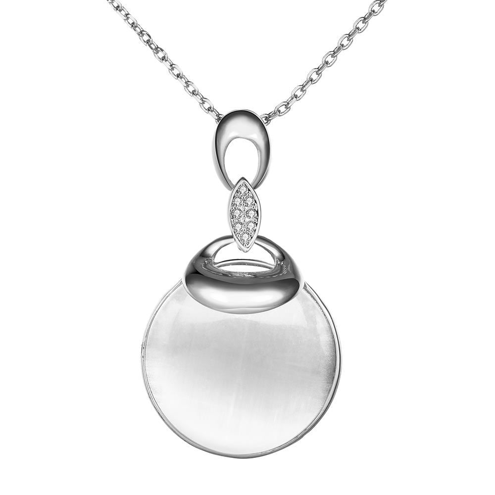 Vienna Jewelry White Gold Plated Ivory Circle Drop Necklace