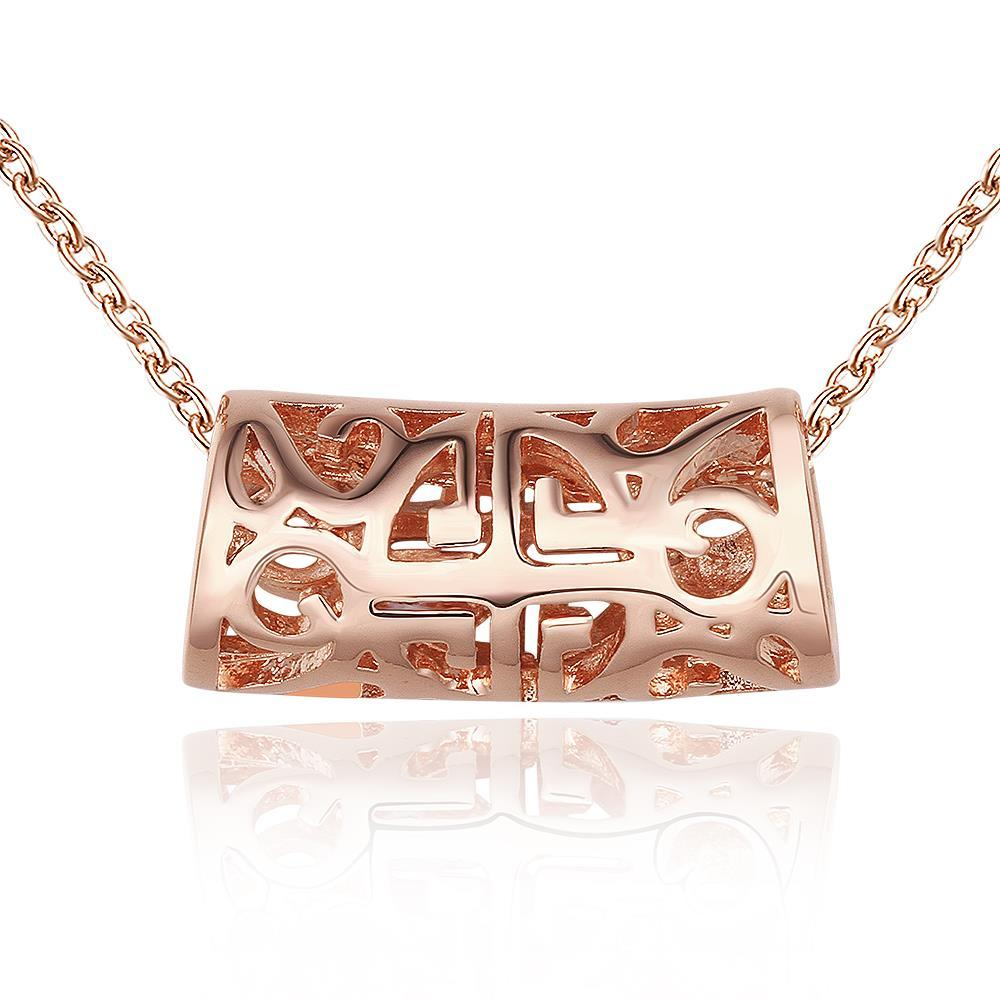Vienna Jewelry Rose Gold Plated Laser Cut Rolling Emblem Necklace