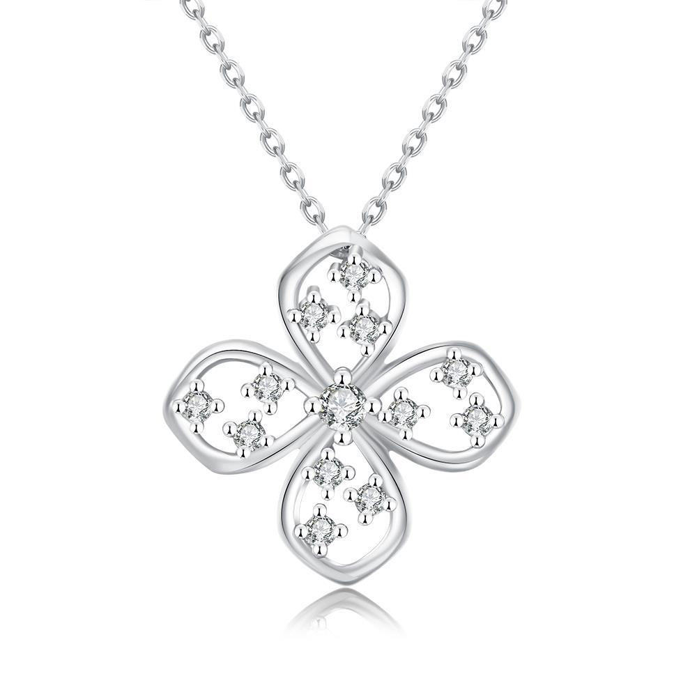 Vienna Jewelry White Gold Plated Four-Sided Clover Necklace