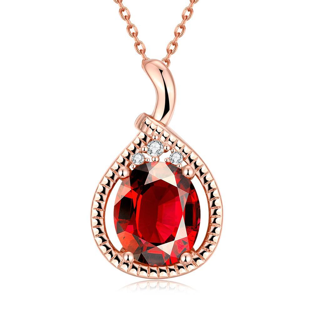 Vienna Jewelry Rose Gold Plated Ruby Gem Drop Necklace