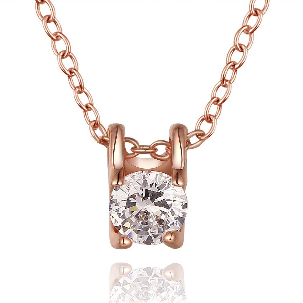 Vienna Jewelry Rose Gold Plated Petite Crystal Emblem Necklace