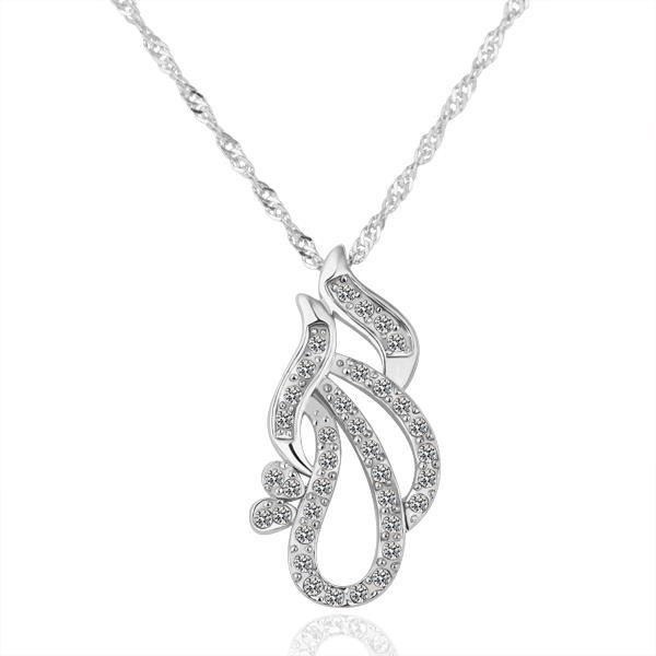 Vienna Jewelry White Gold Plated Dangling Oval Shaped Necklace
