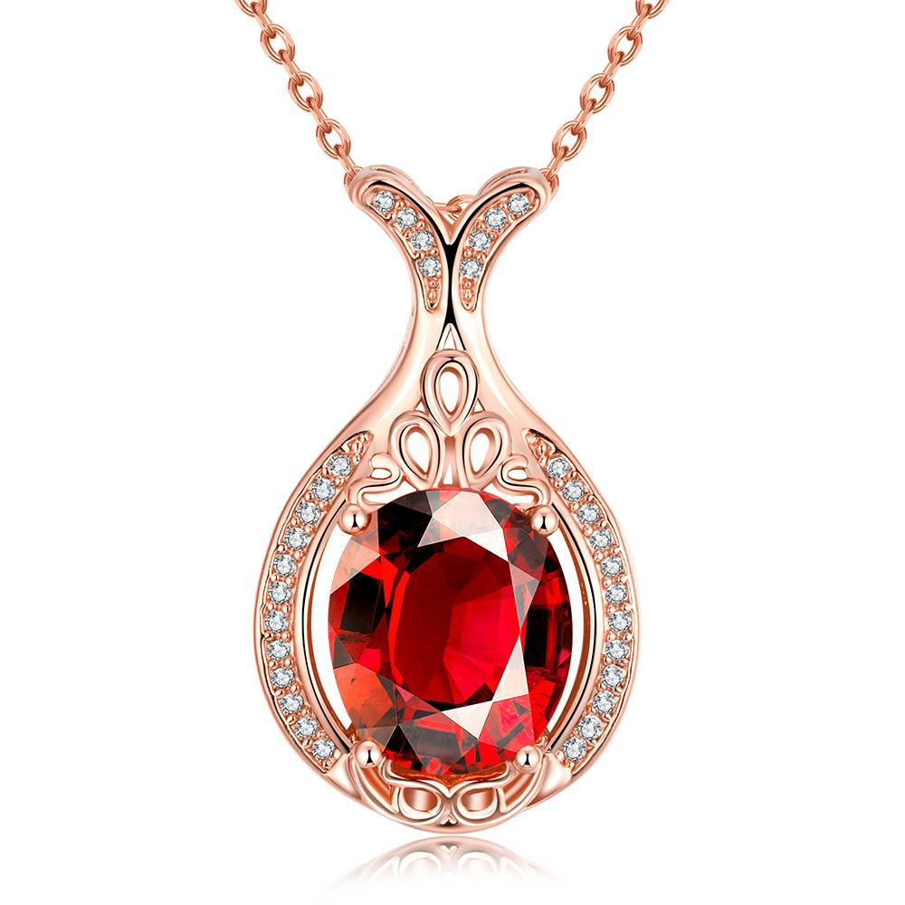 Vienna Jewelry Rose Gold Plated Milan Inspired Ruby Gem Necklace