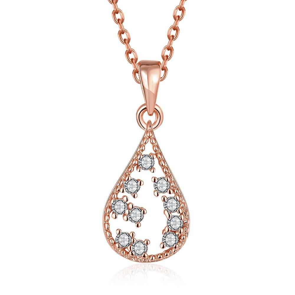 Vienna Jewelry Rose Gold Plated Jewels Ingrain Necklace