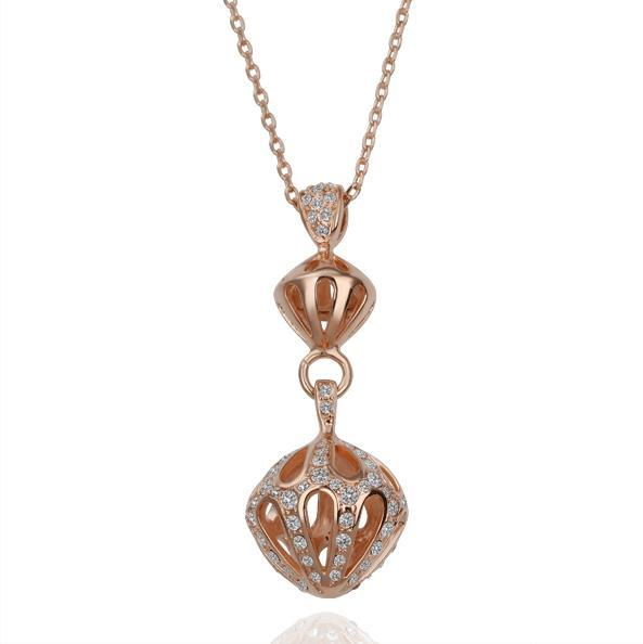 Vienna Jewelry Rose Gold Plated Dangling Crown Necklace