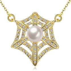 Vienna Jewelry Gold Plated Spiderweb Inspired Necklace - Thumbnail 0