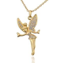 Vienna Jewelry Gold Plated Flying Angel with Crystal Insert Necklace