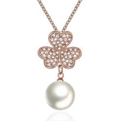 Vienna Jewelry Rose Gold Plated Petite Pearl Necklace - Thumbnail 0