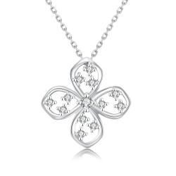 Vienna Jewelry White Gold Plated Four-Sided Clover Necklace - Thumbnail 0