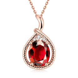 Vienna Jewelry Rose Gold Plated Ruby Gem Drop Necklace - Thumbnail 0