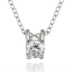 Vienna Jewelry White Gold Plated Petite Crystal Emblem Necklace - Thumbnail 0