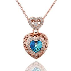 Vienna Jewelry Rose Gold Plated Saphire Encrusted Necklace - Thumbnail 0