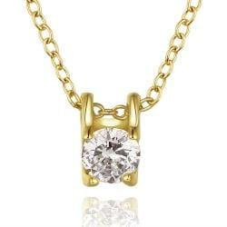 Vienna Jewelry Gold Plated Petite Crystal Emblem Necklace - Thumbnail 0