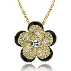 Vienna Jewelry Gold Plated Spiral Floral Necklace - Thumbnail 0
