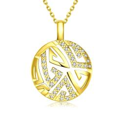 Vienna Jewelry Gold Plated Oriental Emblem Necklace - Thumbnail 0
