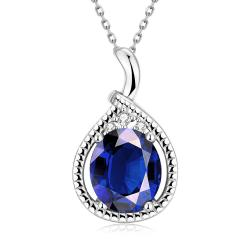 Vienna Jewelry White Gold Plated Saphire Gem Drop Necklace - Thumbnail 0