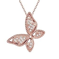 Vienna Jewelry Rose Gold Plated Large Butterfly Necklace - Thumbnail 0
