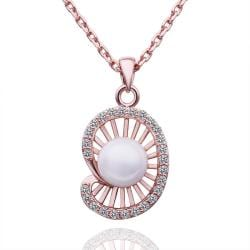 Vienna Jewelry Rose Gold Plated Seashell Pearl Necklace - Thumbnail 0