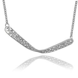 Vienna Jewelry White Gold Plated Spiral Curved Plate Emblem Necklace - Thumbnail 0