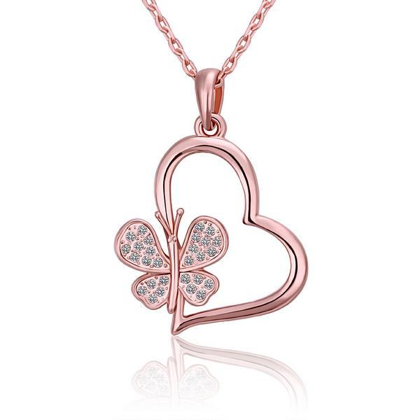 Vienna Jewelry Rose Gold Plated Heart Shaped with Clover Inlay Necklace