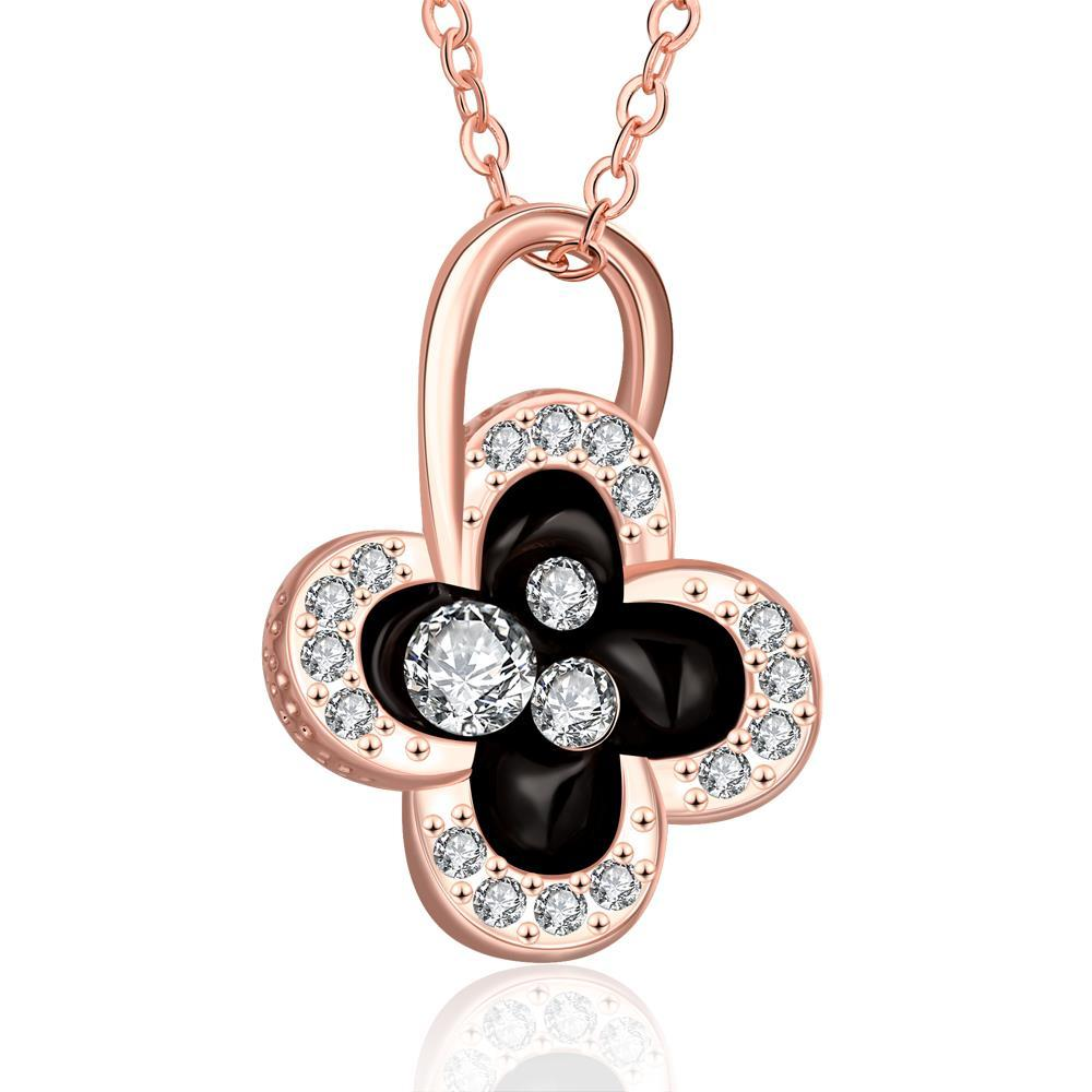 Vienna Jewelry Rose Gold Plated Dangling Clover Jewels Necklace