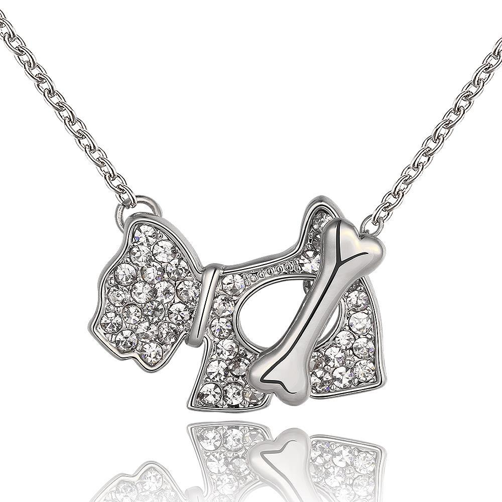 Vienna Jewelry White Gold Plated Puppy Crystal Jewels Necklace