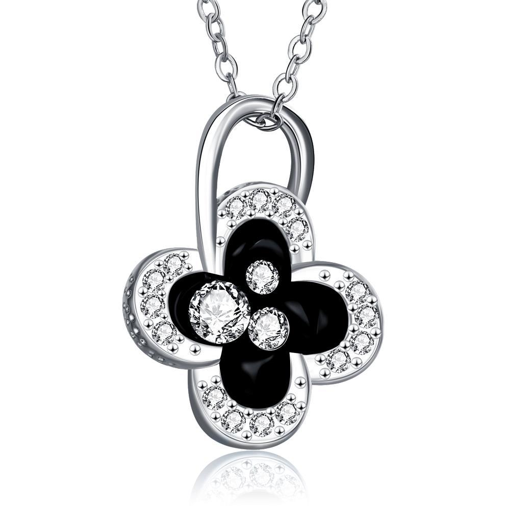 Vienna Jewelry White Gold Plated Dangling Clover Jewels Necklace